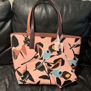 NWT Kate Spade leather reversible Tote + pouch